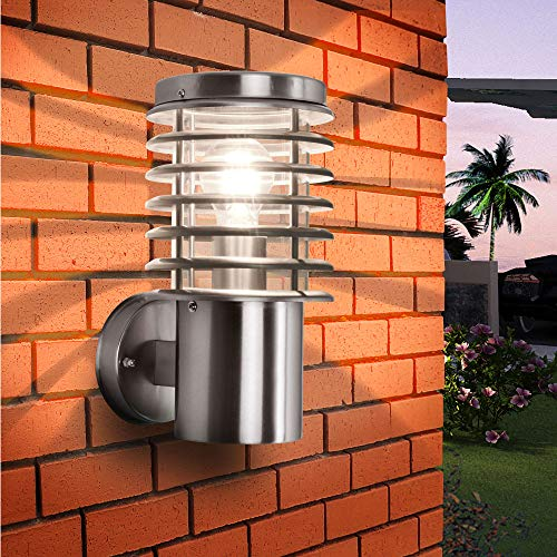 Aussenleuchte Aussenwandleuchte Edelstahl E27 Fassung für LED geeignet Wandlampe 252D1 (Wandleuchte ohne Sensor)