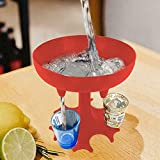 Dispensador de 6 vasos de chupito, dispensador de vasos de chupito, 6 vías, soporte para colgar gafas, soporte para colgar licor, sin vaso de chupito (rosa)