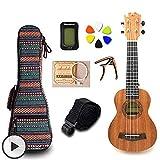 KEPOHK Ukelele de caoba de 21 pulgadas para concierto 4 cuerdas Mini paquete de accesorios de guitarra Hawaii con bolsa Correa Capo 6 púas 21 pulgadas UK2116B-Set