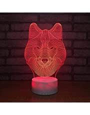 3D Led Night Light Forest Animal Wolf 3D Optical Illusion Lamp 16 Color Changing Bedside Table Desk Lamp Kids Bedroom Sleep Light Boys Girls Birthday Gifts Cartoon Toys Home Decor Lamp