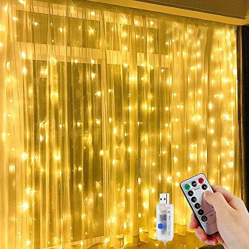 LED Lichtervorhang,Vivibel 300 LEDs USB Lichterkettenvorhang 3M x 3M IP65 Wasserfest 8 Leuchtmodi LED Lichterketten mit Fernbedienung für Weihnachten Party Hochzeit Garten Schlafzimmer Innen außen