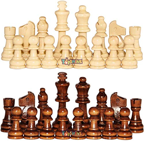 Toyshine Wooden Chess Pieces, Tournament Wood Chessmen Pieces Only (7 cm King Figures) Chess Game Pawns Figurine Pieces, Color May Vary (SSTP) - B
