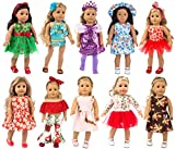 ZITA ELEMENT 22 Pcs Girl Doll Clothes Dress for American 18 Inch Doll Clothes and Accessories - Including 10 Complete Set of Clothing Outfits with Hair Bands, Hair Clips, Crown, Cap and Straw Hat