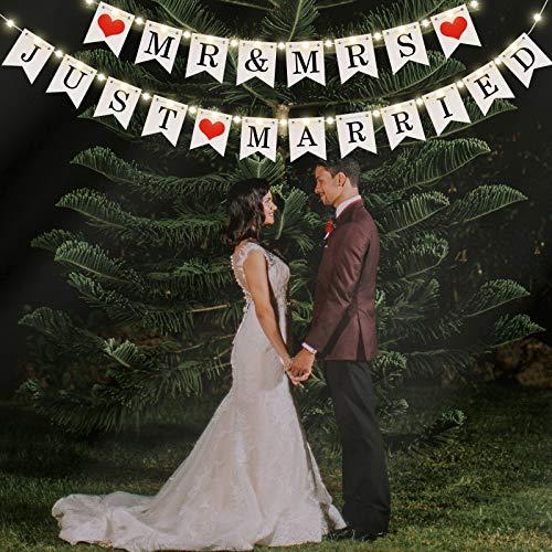 Banner de Mr and Mrs Just Married, Banner de Boda con Cadena de Luz de Hadas LED 8 Modos de Parpadeo, Guirnalda de Letrero Colgante para Despedida de Soltera Boda Compromiso Coche Fiesta