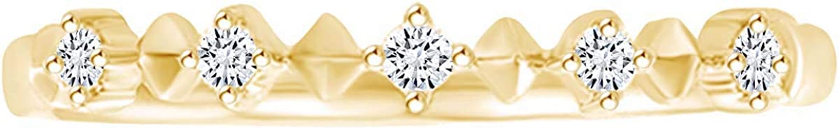 Round White Natural Diamond Accent Anniversary Band Ring 14K Solid Gold (I-J Color, I2-I3 Clarity)