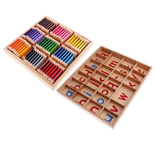 Fenteer Montessori Material Bewegliche Alphabete A Z Kinderentwicklungsspielzeug + Farbkasten