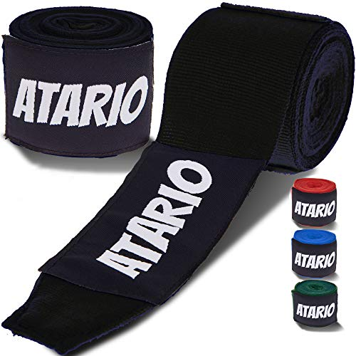ATARIO® Premium Boxbandagen mit Transportnetz [3m/4,5m] – Bandagen Boxen mit Daumenschlaufe – Boxbandagen Herren/Damen/Kinder halbelastisch – Box Bandages [Set] zum Boxen, Kickboxen & MMA