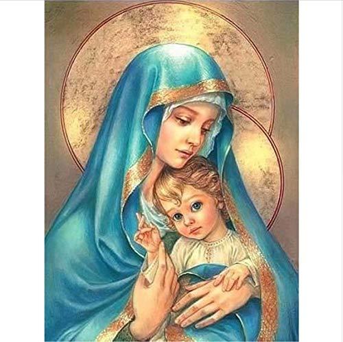 Virgen María Cristo Robo Pintura de diamante Iconos religiosos Imágenes Diy Bordado de diamante 3D Jesús azul usando dibujos de mosaico 40x50cm