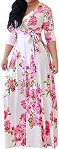 Damesjurk, vrijetijdsjurk, getailleerde jurk, A-lijn, bloemenprint, casual maxi-jurk, lange jurk, diepe V-hals, casual jur...