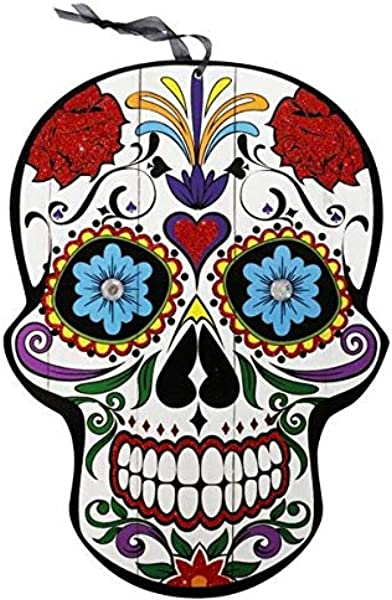 Halloween Decoration Day Of The Dead Sugar Skull Hanging Wall Sign 9 5x13 In Heart