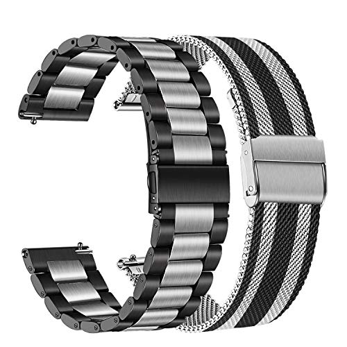 TRUMiRR Band Sets for Samsung Galaxy Watch 42mm / Active 2 / Watch 4 40mm 44mm, 20mm 2 Pack Stainless Steel Watchband + Mesh Woven Strap for Garmin Vivoactive 3 / Venu
