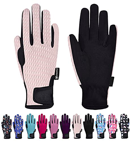 ChinFun Kids Horse Riding Gloves Child Summer Gloves Cycling Gloves Perfect for Cycling Riding Running Skiing and Spring Outdoor Activities Cool Mesh Pink Size XL 12-14