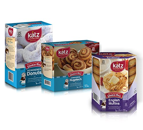 Katz Gluten Free Variety Pack | 1 English Muffin, 1 Powdered Donut, 1 Cinnamon Rugelach | Dairy, Nut, Soy and Gluten Free | Kosher (1 Pack of each)