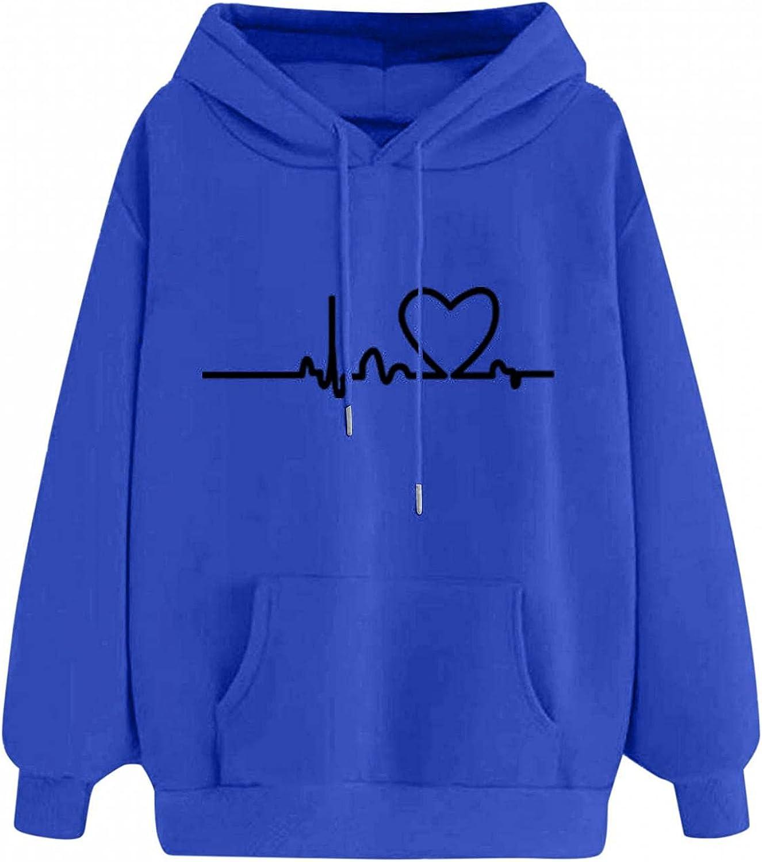 BAGELISE Hoodies Women Oversized,Fashion Warm Print Sweatshirt for Women Long Sleeve Cute Cartoon Hoodies Pullover