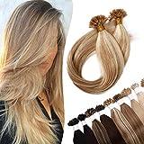 22'(55cm) Extensiones de Queratina de Cabello Natural [0.5g*200mechas] #18/613 Ash Rubio/Blanqueador Rubio 100% Remy Pelo Humano Pre Bonded Hair Extensions (100g)