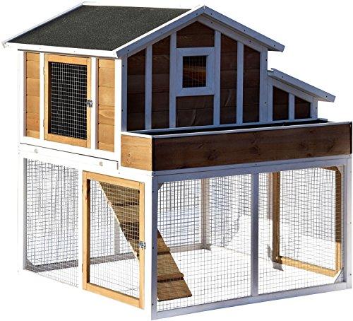 dobar 23033FSC Großer dekorativer Hühnerstall oder Kleintierstall XL mit Freigehege, Pflanzkasten und Legebox, 126 x 128 x 143 cm, weiß-braun-schwarz - 2