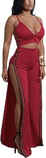 Aro Lora Women's Sexy 2 Pieces Set V Neck Crop Top + Side Slit Wide Leg Pant Jumpsuit Romper