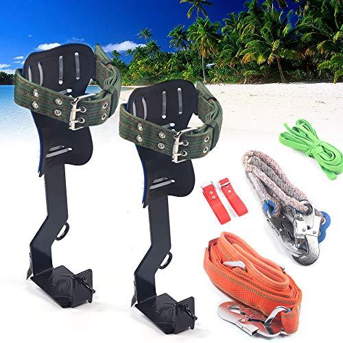 DYRABREST Tree Climbing Spike Set Safety Non-Slip Belt Straps Portable Adjustable Lanyard Carabiner for Hunting Observation Outdoor Picking Fruit Pick Trees Pole Hook