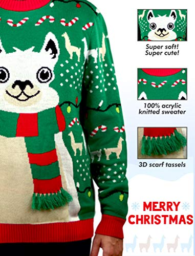 Llama Christmas Sweater FA La La Llama Ugly Sweater for Men Women 2 No drama for this christmas llama! a red and green tacky holiday themed long sleeve pullover sweater, featuring an adorable giant llama sporting a 3d fuzzy striped scarf that just screams festive fun Fa la la la llama - funny ugly xmas sweater for men and women - the unisex llama christmas sweater is perfect for llama lovers If you need to win an ugly christmas sweater contest, this cute, soft llama ugly christmas sweater is sure to take home the gold. Guaranteed to be the ugliest holiday theme sweater at the xmas sweater party, or your office ugly sweater party