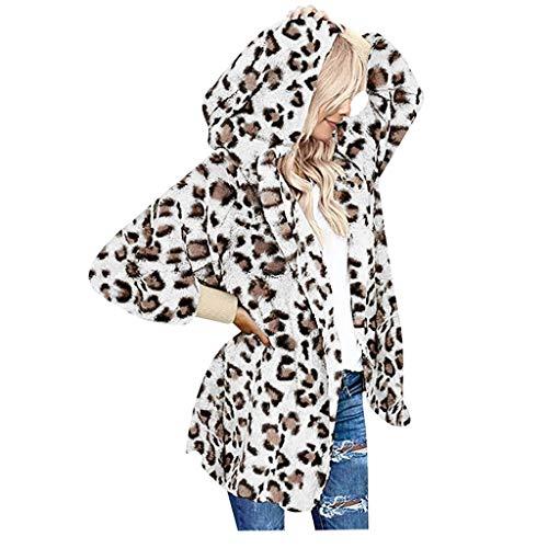 iCerber Damen Winter Jacke Mantel Warm GefüTterte Winterjacke Kapuzen Hoodie Bequem Sweatjacke Sweatshirt Pullover Oberteile Leopard-Element Kapuzenpullover