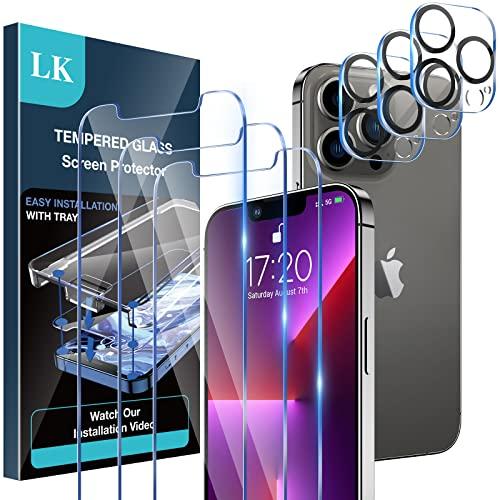 LK [3+3 Pack Protector de Pantalla Compatible con iPhone 13 Pro MAX 6.7 Pulgada,3 Pack Cristal Templado y 3 Pack Protector de Lente de Camara, Doble Proteccion, Kit de Instalacion Incluido