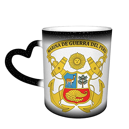 AOOEDM Marina De Guerra Del Peru Starry Sky Taza que cambia de color Taza de cerámica sensible al calor que cambia de color mágico La taza de café es muy adecuada como regalo para su familia y amigo