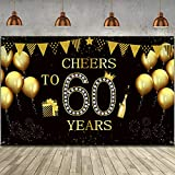 Happy 60th Birthday Party Backdrop Banner, Extra Large Fabric Black Gold Cheers to 60 Years Backdrop Anniversary Decoration Background Banner for Men Women 60th Birthday Party Supply, 72.8 x 43.3 Inch