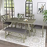 Harper & Bright Designs Dining Table Set, 6 Piece Wooden Dining Table Set with Bench and 4 Dining Chairs,Kitchen Table Set Family Furniture for 6,Rustic Style, Gray