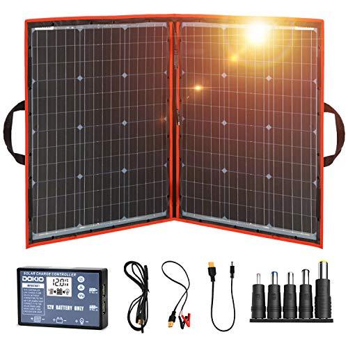 DOKIO Panel Solar Plegable 100w monocristalino para cargar 12v Batería , PORTáTIL, impermeable,ideal embarcaciones, camping, caravanas