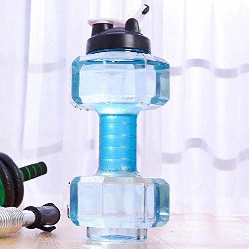 Picturer7Fitness Wasser Flasche, 2.2l BPA-Frei großes Fassungsvermögen auslaufsicherer Hantel Form Wasser Flasche für Outdoor, Sport, Fitness & Gym Wasser Wasserkocher, Blau