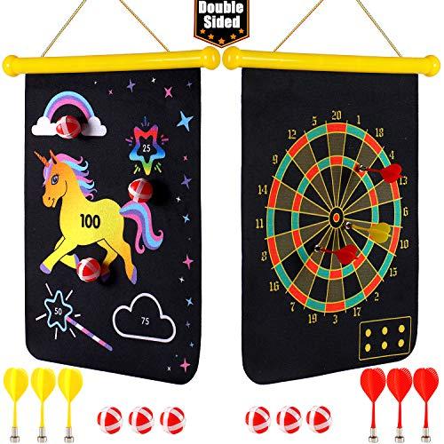 vamei Dartscheibe Kinder Wurfspiel Einhorn Magnetische Dartscheibe Dartboard 6 Bällen 6 Pfeile Klettballspiel Stoff Dartscheibe Spiel für Drinnen und Draußen