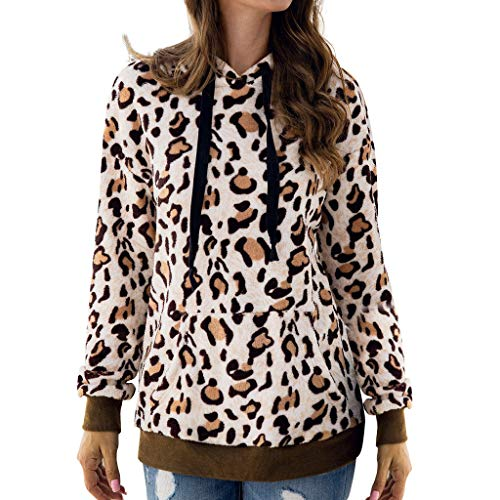 FRAUIT Elegante trui dames luipaard wollen trui met capuchon, pluche jack warm zacht comfortabel fleece sweatshirts gebreide jas warm zacht comfortabele kleding blouse top outwear mode streetwear