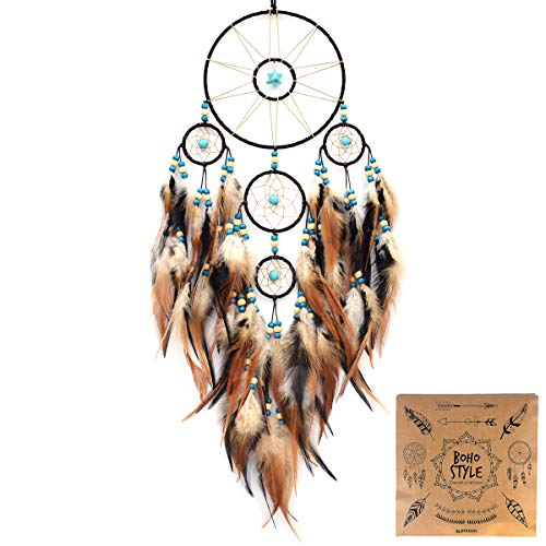 Urdeoms Dream Catcher Large Turquoise Dream Catchers with Merkaba and Feathers Wall Hanginbg Home Decor Dia 6'(NO.32)