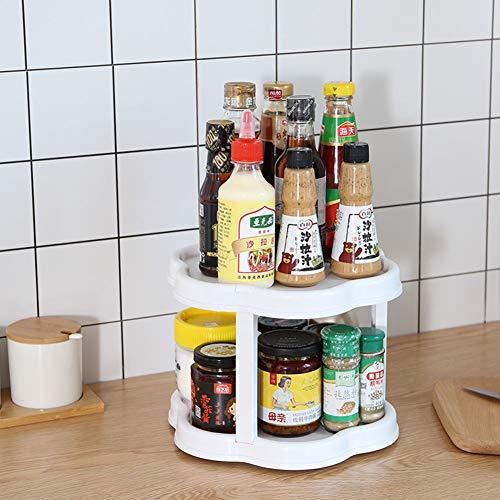 UHAPEER Plato giratorio para estantes de cocina 2 niveles, Estante especias idóneo organizador de condimentos, Especiero giratorio para cocina, baño