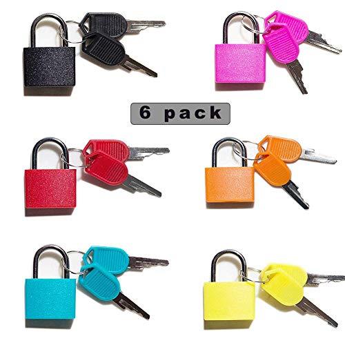 Mini candado de seguridad con llave, juego de cerraduras para maletas, equipaje con llave, varios colores (6 unidades)
