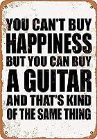 家の装飾-あなたは幸福を買うことはできませんが、あなたはギターを買うことができます。 コーヒーショップバークラブのためのヴィンテージメタルティンサインプレート壁の装飾プラーク