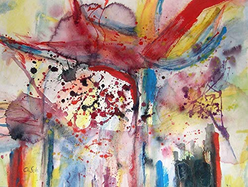 Strelitzie Aquarellbild, mediterranes Original-Künstlerbild, expressiv-abstrakt-farbenprächtig, Einzelstück