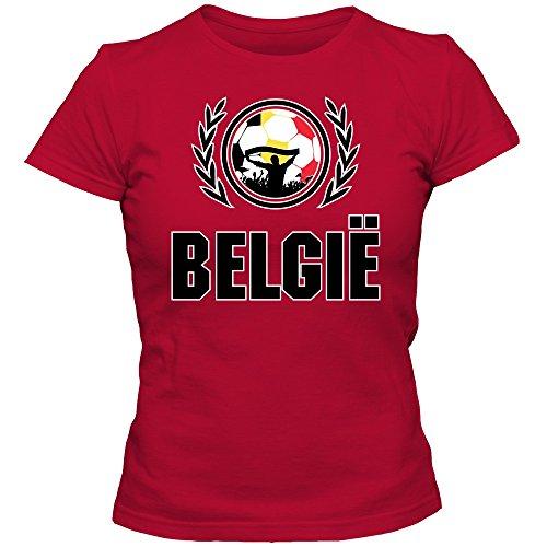Belgien WM 2018#2 T-Shirt | Damen | De Rode Duivels | Fußball | Belgique | Trikot | 100% Baumwolle | Kurzarm, Farbe:Rot (Red L191);Größe:S