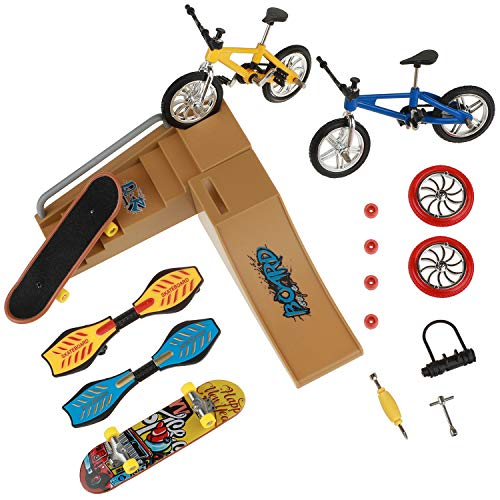 ideallife Skate Park Kit, Mini Finger Toys Set Finger Skateboards Finger Bikes Tiny Swing Board with Replacement Wheels and Tools (17 Pcs)
