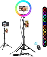 "10"" RGB Selfie Light Ring with Tripod Stand & Phone Holder, Infrared Remote Control, Dimmable 29 Colors for Makeup/Live St..."