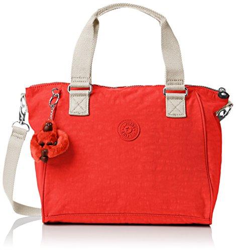 Kipling AMIEL, Damen Schultertasche , Rot (Coral Rose Combo 05W), Einheitsgröße