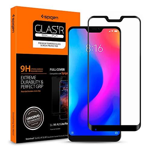 Spigen, Protector de Pantalla Xiaomi Mi A2 Lite, [Caso amistoso], 3D Cobertura Completa, Anti-Burbuja, Anti-Scratch, Cristal Templado Premium para Xiaomi Mi A2 Lite (S28GL26121)