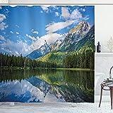 ABAKUHAUS Natur Duschvorhang, Bergsee-Landschaft, mit 12 Ringe Set Wasserdicht Stielvoll Modern Farbfest & Schimmel Resistent, 175x180 cm, Weiß Grün Blau