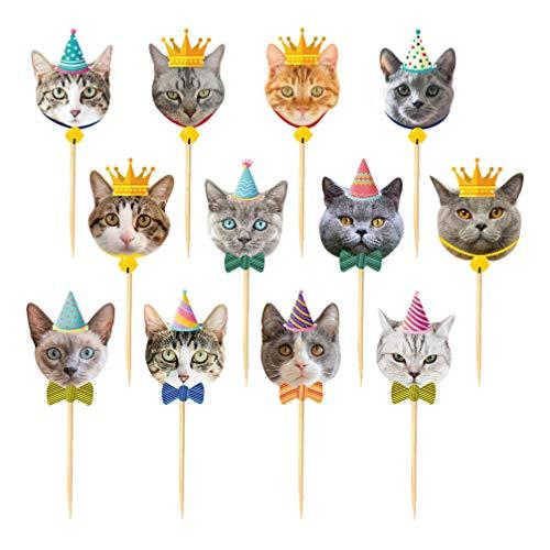 Amosfun 24pcs Katze Cupcake Topper niedlichen Cartoon Katze Kuchen Cupcake Picks für Kinder Geburtstagsparty Babyparty liefert Katze Kätzchen Thema Partydekorationen