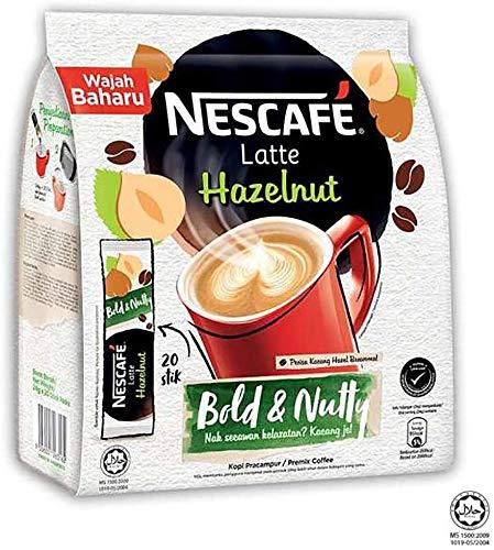 Nestle Malaysia 3 in 1 Nescafe Kaffee Original Latte Haselnuss Karamell Instantkaffee Reichhaltiges Aroma Halal Getränke Teatime Frühstück 1 Packung (20 Beutel) (Latte Haselnuss)