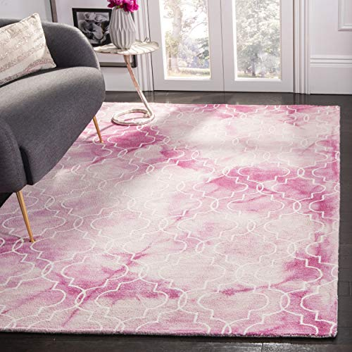 Safavieh Dip Dye Collection DDY676N Handmade Geometric Watercolor Rose and Ivory Wool Area Rug (2' x 3')