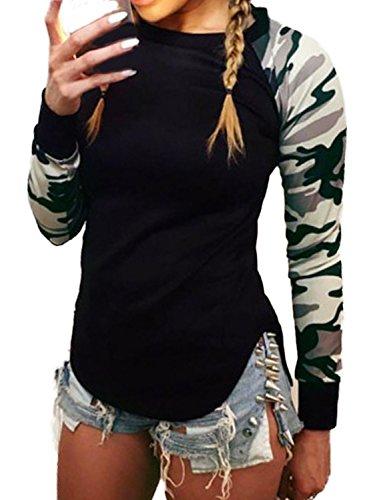 Minetom Damen Herbst Winter Camouflage Rundhals Langarm Hemd Shirt Lässige Bluse Tops Camouflage DE 42