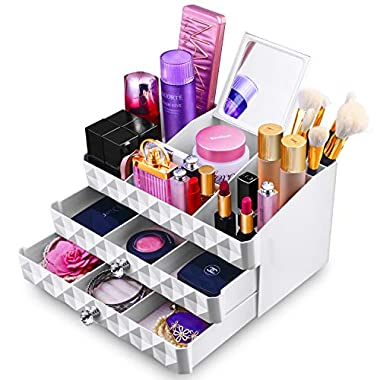 MaxKim  Makeup Jewelry Organizer 2 Drawer with 15 Compartments and mirror  for  Cosmetics, Jewelries,  Cosmetic Storage Box(xl)