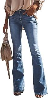 YAOTT Mujer Vaqueros Acampanados Skinny Push Up Pantalones Elástico Jeans Cintura Alta