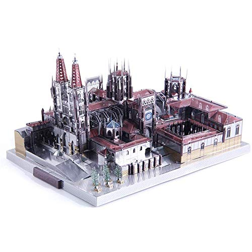 YWAWJ rompecabezas de metal del metal 3D rompecabezas del cerebro Juguetes Rompecabezas de metal Juegos for adultos Niños arquitectónico del metal del modelo de simulación Mini catedral Rompecabezas M